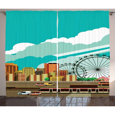 Ferris Wheel Curtains 2 Panels Set, Panaroma of Downtown with Skyscrapers Highway Metro Line and Amusement Park, Window Drapes for Living Room Bedroom, 108W X 96L Inches, Multicolor, by Ambesonne Set Ferris Wheel