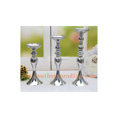 6 pcs Wedding Floral Stand /Pillar Candle Holder Flower Feather Ball Centerpiece Stand Reversible- Silver 13 inches High New!!! ()