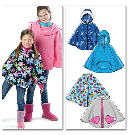 Childrensgirls Ponchos Cz Med Lrg Xlg Sewing Pattern