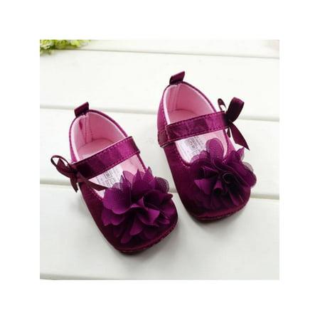 Disney Princess Shoe Pin Set (Ropalia Newborn Shoes Kids Girl Bow Flower Soft Sole Princess)