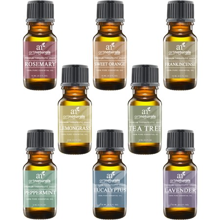 Art Naturals Top 8 Essential Oils   100  Pure Of The Highest Quality Essential Oils   Peppermint  Tee Tree  Rosemary  Orange  Lemongrass  Lavender  Eucalyptus    Frankincense   Therapeutic Grade
