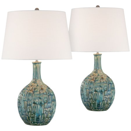 360 Lighting Mid Century Modern Table Lamps Set of 2 Ceramic Teal Glaze  Handcrafted White Empire Shade for Living Room Bedroom