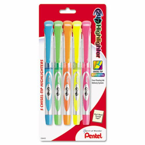 Pentel 24/7 Highlighter, Assorted Colors, 5 Highlighters (PENSL12BP5M)