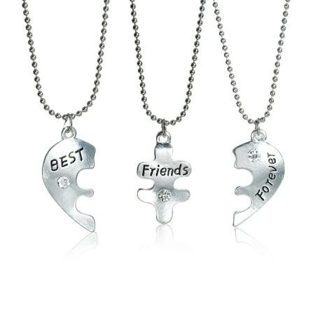 Multi Chain Heart Necklace (3 pc Necklace Ball Chain Broken Heart Message
