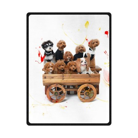 CADecor Many Lovely Poodle In The Car Fleece Blanket Throws 58x80 inches