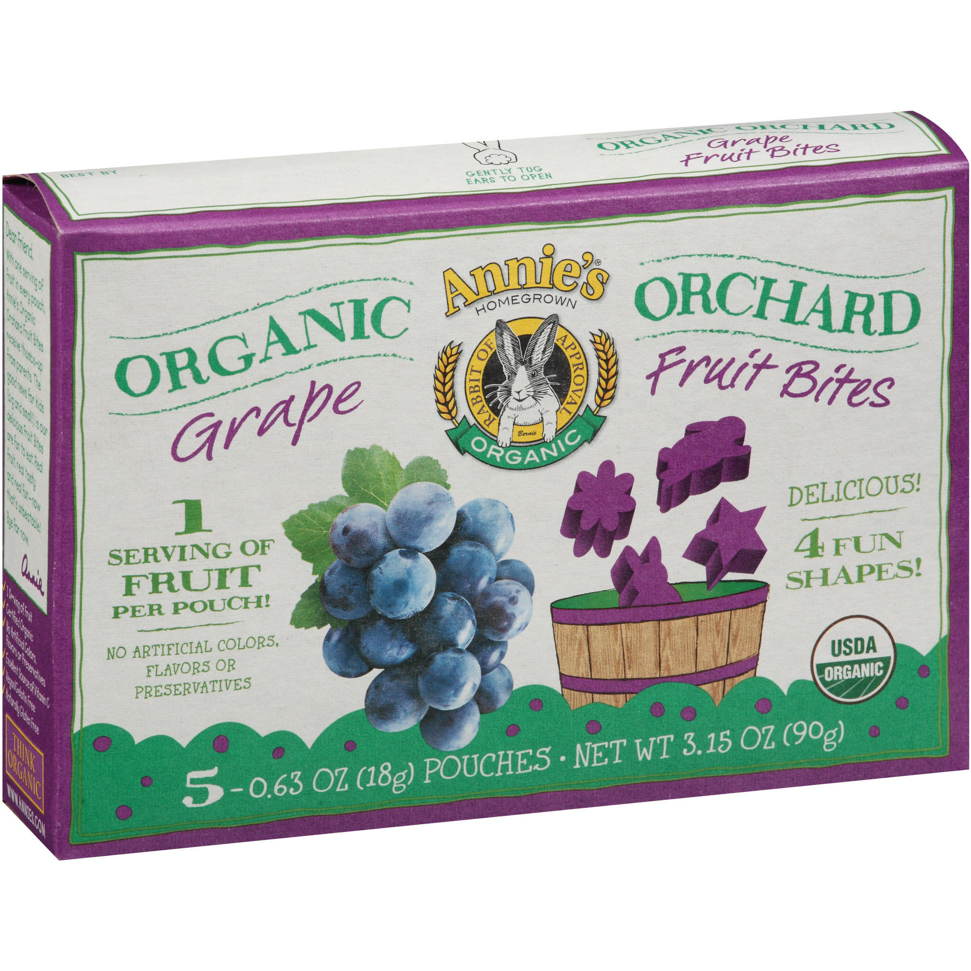 Annie's Homegrown Organic Orchard Grape Fruit Bites, 0.63 oz, 5 count