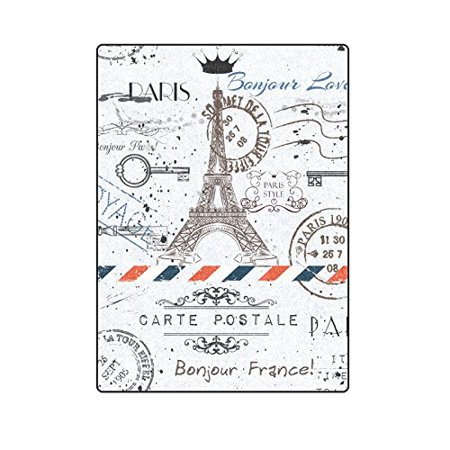 CADecor Flower Eiffel Tower And Post Stamps Blanket Throw Super Soft Warm Bed or Couch Blanket 58x80 inches Bed Head Eiffel Tower