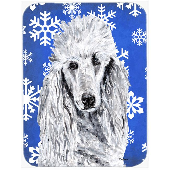 Black Standard Poodle Winter Snowflakes Mouse Pad, Hot Pad Or Trivet, 7.75 x 9.25 In.