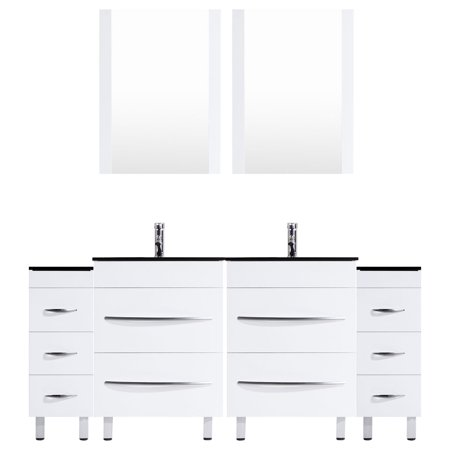 96 White Vanity Set - Two 36 Sink Bases, Two 12 Drawer Bases -