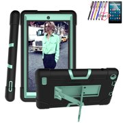 "Goldcherry For Amazon Fire 7"" 2019 Tablet Case, Hybrid Heavy Duty Defender Shockproof Protective with Built-in Kickstand for All-New Fire 7 2019/2017(Black+Mint Green)"