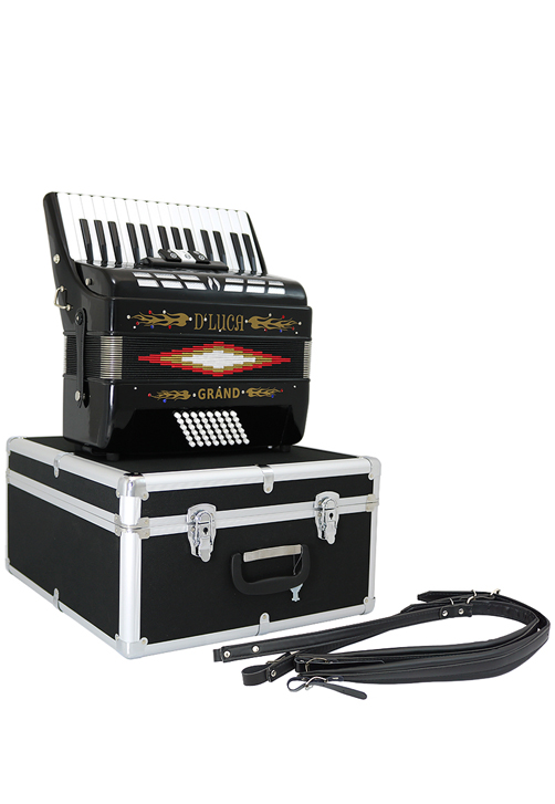 D'Luca Grand Piano Accordion 3 Switches 30 Keys 48 Bass with Case and Straps, Black by D'Luca
