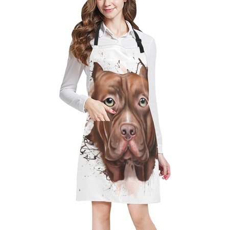 ASHLEIGH Hipster Funny Pit Bull Terrier Dog Unisex Adjustable Bib Apron with Pockets for Women Men Girls Chef for Cooking Baking Gardening Crafting