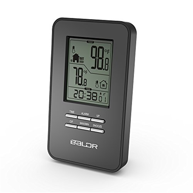 BALDR In/Outdoor Thermometer with Wireless Sensor Big Time Display Alarm and Snooze
