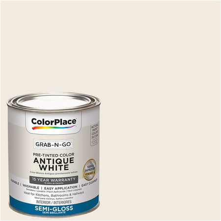ColorPlace Pre Mixed Ready To Use, Interior Paint, Antique White, Semi-Gloss Finish, 1