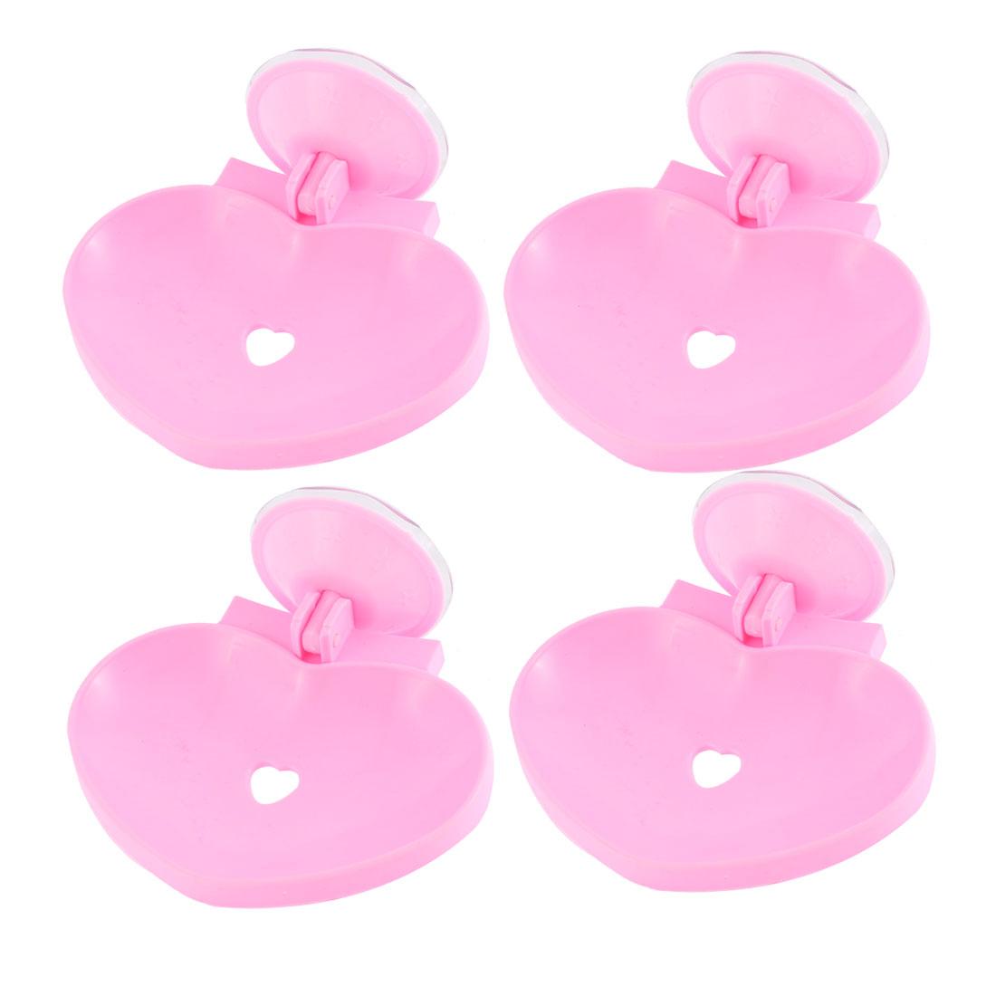 Unique Bargains Bathroom Plastic Heart Design Hollow Out Suction Cup Soap Holder Pink 4 Pcs