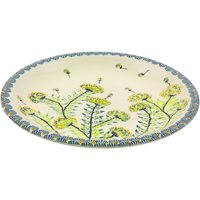 Polish Pottery 9½-inch Salad Plate (Yellow Dandelions Theme) Hand Painted in Boleslawiec, Poland + Certificate of Authenticity