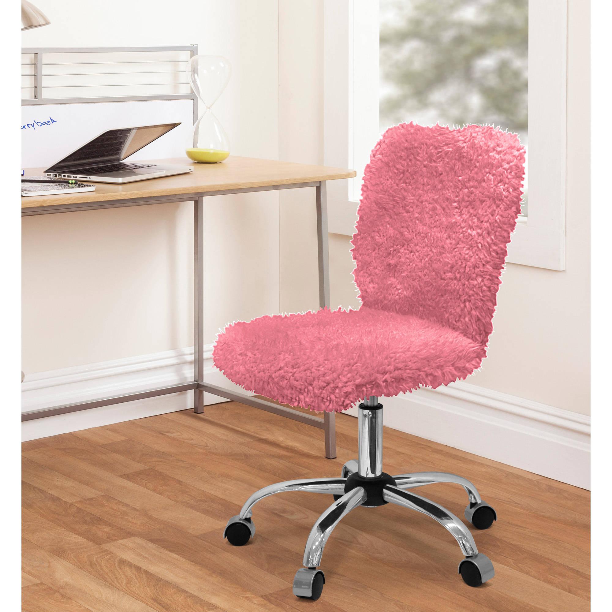 Urban Shop Faux Fur Armless Swivel Task Office Chair, Multiple Colors
