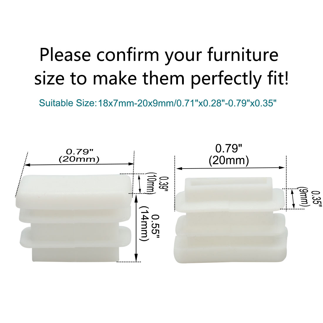20 x 10mm Rectangle Tube Inserts Feet Caps Furniture Legs Floor Protector 150pcs - image 2 of 7