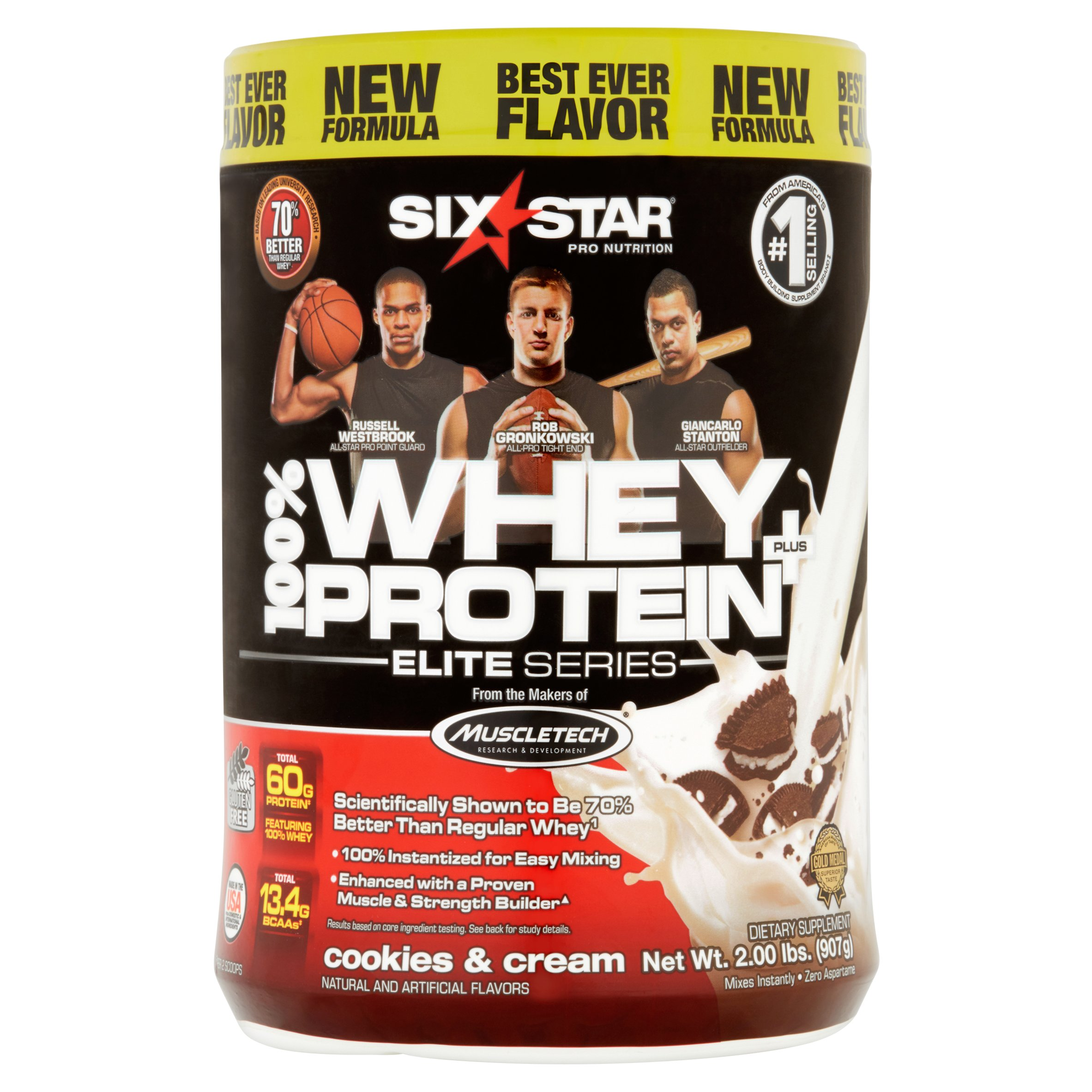 Six Star Pro Nutrition Elite Series 100% Whey Protein Powder, Cookies & Cream, 20g Protein, 2 Lb