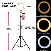 """6.3"""" 5500K LED Ring Lamp Dimmable Light Stand Kit Phone Photo Selfie Video Makeup Live Photographic 160cm Tripod Phone Holder"""