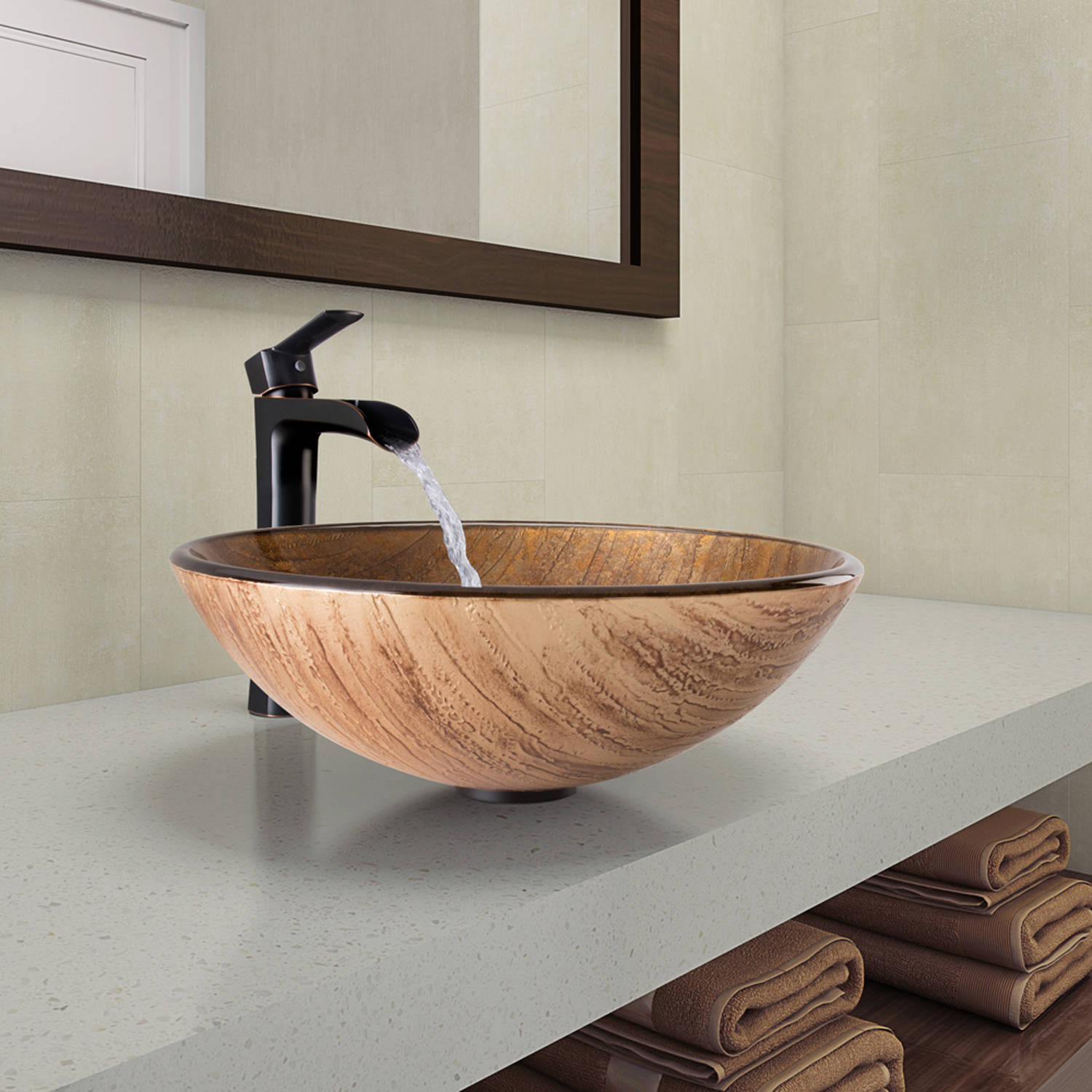 Vigo Amber Sunset Glass Vessel Bathroom Sink and Niko Faucet Set in Antique Rubbed Bronze Finish