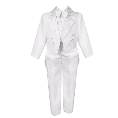 Little Boys White 5 Piece Vest Pants Tail Jacket Jacquard Tuxedo Suit - Tuxedo With Tails For Sale