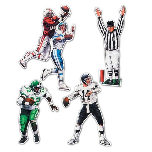The Beistle Company 4 piece Football Figure Standup Set (Set of 2)