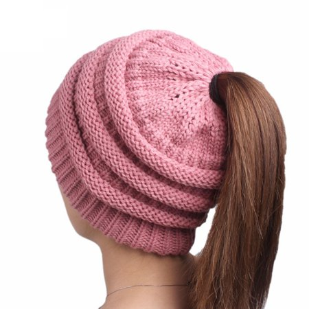 Winter Fashion Womens Ponytail Cap Warm Soft Beanie Knitted Hat ( Pink
