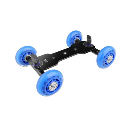 """Tabletop Mobile Rolling Camera Slider Dolly Car Skater Video Track Rail with 1/4"""" 3/8"""" Screws for DSLR Camera Camcorder Speedlite Gopro iPhone Cellphones Flash Lights Magic (Iflow Pro A Portable Dolly For Dslr)"""