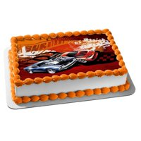 Hot Wheels Burnin Two Race Cars Edible Cake Topper Image