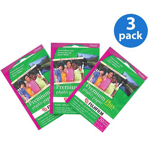 FUJI 441048-60sheets 3 PACK OF 20 SHEETS PREMIUM PLUS PHOTO PAPER 8.5inX 11in 60 Sheets