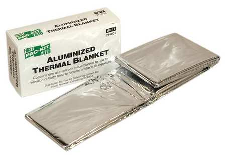Pac-Kit 21-005G Silver Disposable Emergency Blanket, 52In x 84In by Pac-Kit
