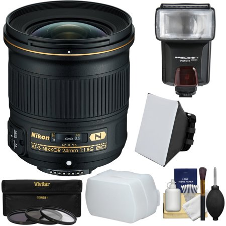 Nikon 24mm f/1.8G AF-S ED Nikkor Lens with 3 Filters + Flash + Soft Box + Diffuser + Kit for DSLR
