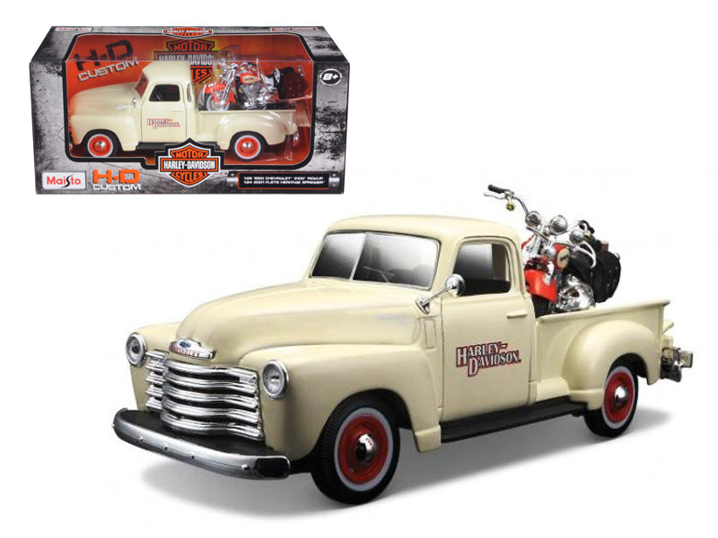 1950 Chevrolet 3100 Pickup Truck Harley Davidson 1 25 With 2001 FLSTS Heritage Springer... by Maisto