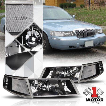 Black Housing Headlight Clear Signal Reflector for 98-02 Mercury Grand Marquis 99 00 01