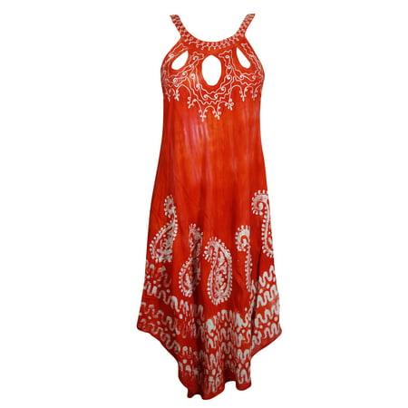 Mogul Women Summer Tank Dress Embroidered Batik Embroidered Relaxed Fit Sleeveless Cutout Neck Beach Coverup Caftan M (Thomas Tank Dress Up)