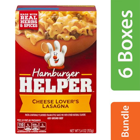 (6 Pack) Hamburger Helper Cheese Lover's Lasagna Hamburger Helper 5.4 Oz Hamburger Helper Cheese Lovers Lasagna. Made with real herbs & spices. Pasta & naturally flavored Italian-style sauce mix with other natural flavors.Betty Crocker Hamburger Helper Cheese Lovers Lasagna 5.4 oz Box. Hamburger Helper is made with REAL herbs and spices for the flavors you love most. Our products are made with NO artificial flavors or colors from artificial sources