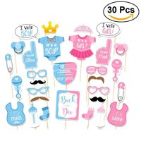 Baby Shower Decorations,Baby Shower Photo Booth Props Gender Revea for Birthday Party Favors 30Pcs
