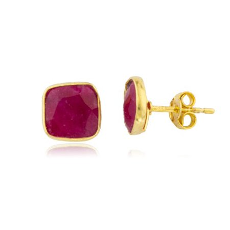 Real 925 Silver Goldtone Simulated Ruby Square Stone Earrings