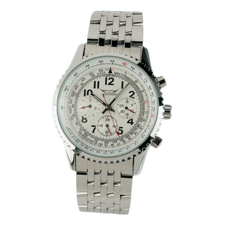 Steel Date Display (Six Hands Mechanical Automatic Watch Stainless Steel Case Date Week)