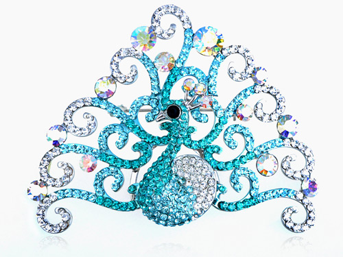 Crystal Elements Aqua Aurora Borealis Peacock Bird Fashion Pin Brooch by