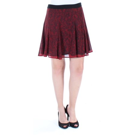 MICHAEL KORS Womens Red Floral Above The Knee Fit + Flare Skirt  Size: 4