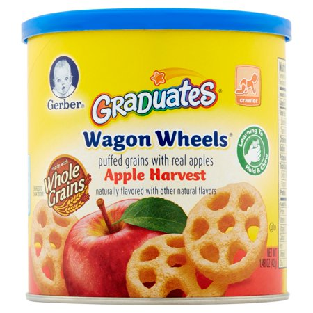 Gerber Graduates Wagon Wheels Apple Harvest Puffed Grains With Real Apples  1 48 Oz  6 Count