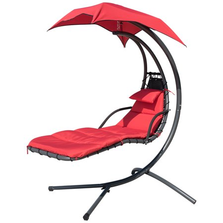 Enjoyable Finether Hanging Chaise Lounge Chair Outdoor Indoor Hammock Chair Swing With Arc Stand Canopy And Cushion For Patio Beach Bedroom Yard Garden Nail Short Links Chair Design For Home Short Linksinfo