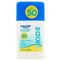 Equate Kids Mineral Based Broad Spectrum Sunscreen Stick, SPF 50, 1.5 oz
