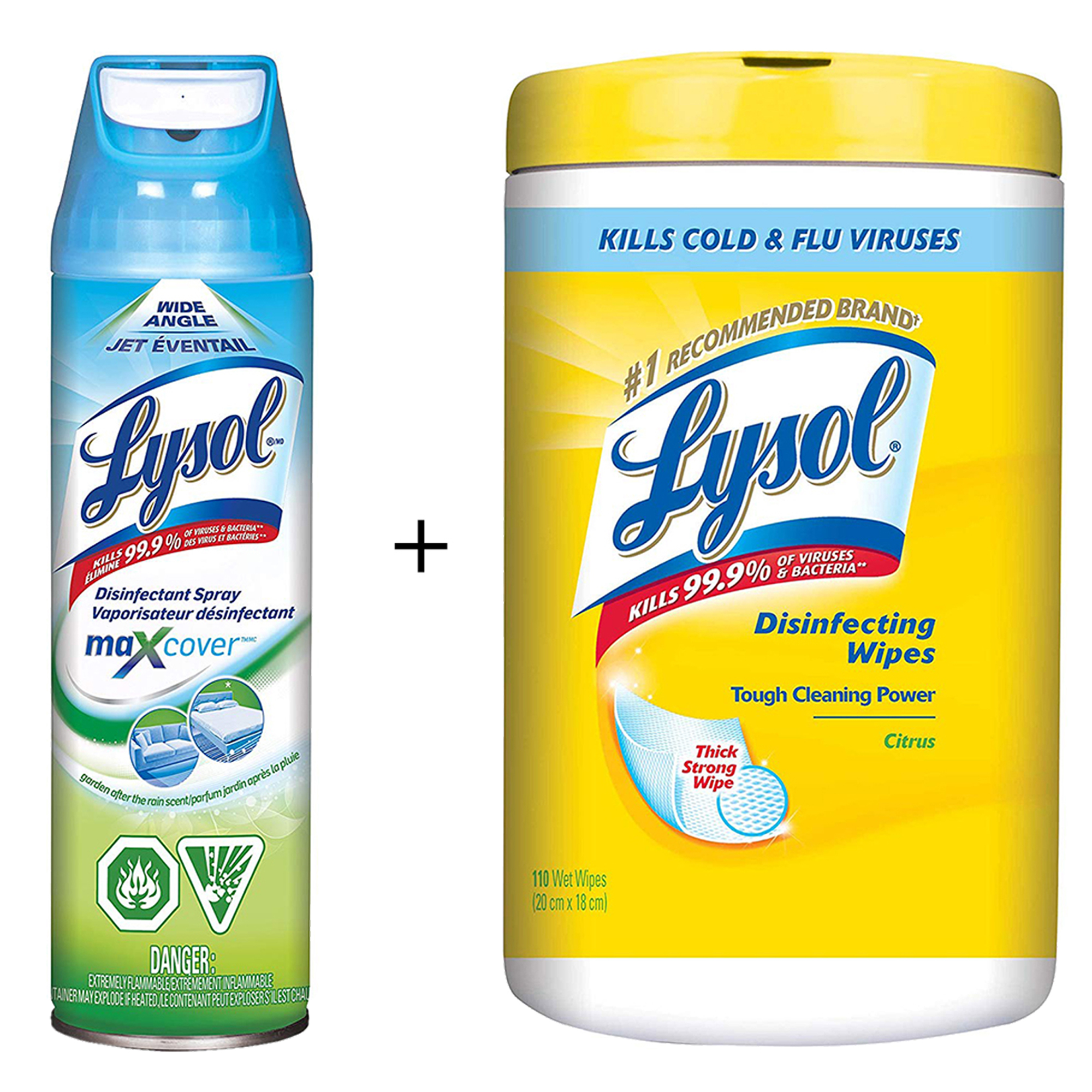 Lysol Max Cover Disinfectant Mist, Garden After Rain, 425g, 2X Wider Coverage + Lysol Disinfectant Surface Wipes, Citrus, 110 Count - image 1 of 1