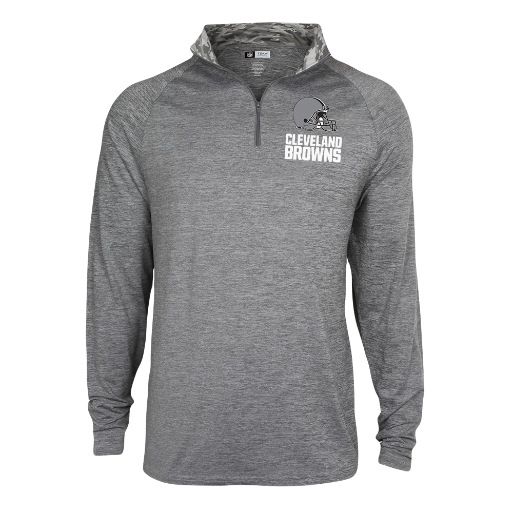 Men's Zubaz Gray Cleveland Browns Space Dye Quarter-Zip Jacket