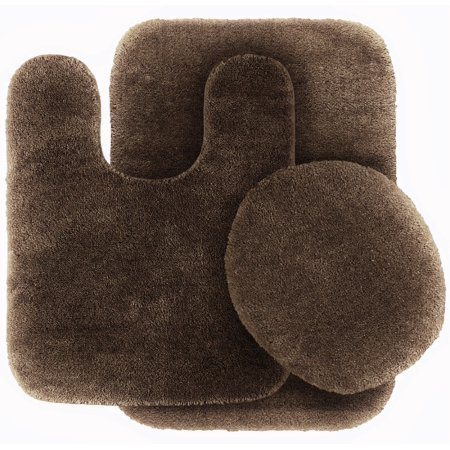 3 Pc BROWN  Bathroom Set Bath Mat RUG, Contour, and Toilet Lid Cover, with Rubber Backing #6