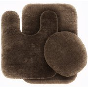 3 Pc BROWN  Bathroom Set Bath Mat RUG, Contour, and Toilet Lid Cover, with Rubber Backing#6