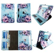 """Pink Blue Flower tablet case 7 inch for RCA Voyager 2 7"""" 7inch android tablet cases 360 rotating slim folio stand protector pu leather cover travel e-reader cash slots"""
